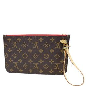 Auth NEW Louis Vuitton Neverfull red wristlet